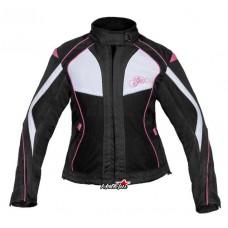 Tiana motoros női kabát fekete-fehér-rózsaszín