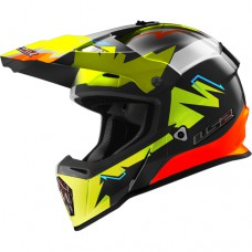 LS2 MX437 cross bukósisak FAST VOLT fekete-neon-narancs
