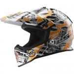 LS2 MX437 cross bukósisak FAST MINI GLITCH fehér-fekete-narancs